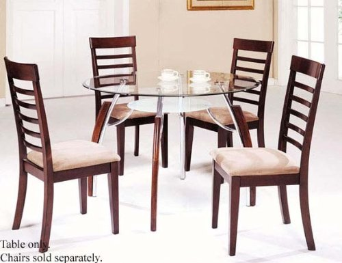 Image of Dining Table with Glass Top Chrome Cherry Finish (VF_AM8185)