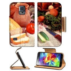 Cucumber Bread Tomato Baked Goods Herbs Knife Samsung Galaxy S5 Sm-G900 Flip Cover Case With Card Holder Customized Made To Order Support Ready Premium Deluxe Pu Leather 5 13/16 Inch (148Mm) X 2 1/8 Inch (80Mm) X 5/8 Inch (16Mm) Liil S V S 5 Professional