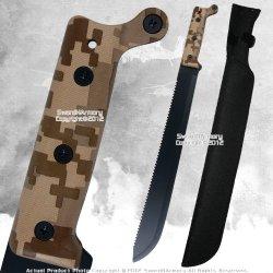 Full Tang Fixed Blade Jungle Machete Zombie Hunting Sword Saw Tooth Edge Rdpf
