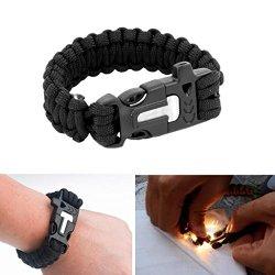 Black Survival Paracord Bracelet W Flint Fire Starter Scraper Whistle Wild Camping