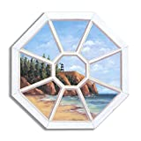 The Stupell Home Decor Collection Decorative Faux Window Scene, Octagon with Lighthouse, 22 by 33-Inch