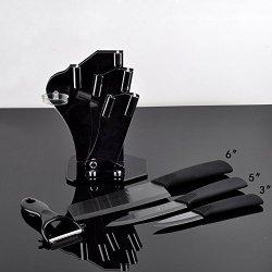"Timhome Brand Black Blade Ceramic Knife Set Kitchen Knives 3"" 5"" 6"" + Peeler + Acrylic Holder + Covers (3""/5""/6"")"