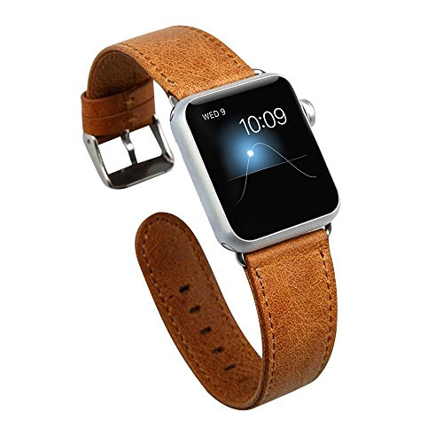Apple-Watch-BandJisoncase-Genuine-Leather-Strap-Wristband-With-Free-Adapters-for-Apple-Watch-Sport-Edition-42mm-iWatch-Replacement-Band-with-Metal-Clasp-in-Brown-JS-AW4-06A20