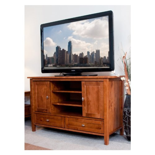 Image of Simpli Home AXWSH004 Warm Shaker Collection 47-Inch Tv Stand, Honey Brown, 1-Pack (AXWSH004)