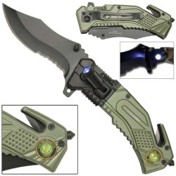 Us Army Knife With Led Light Attached & Free Army Veteran Cap Hat