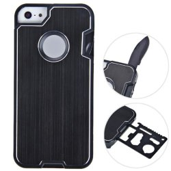 Cool Brushed Multi-Tool Knife Protective Hard Shell Case For Iphone 5 5S Black