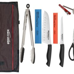 """8Pc Professional Knife Kit, Santoku, Boning Knife, Come Apart Shears, 12"""" Duo Tongs, Thermometer, Edge Guards And Chef Bag"""