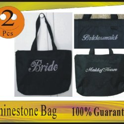 2 Black Tote Bags With Any 2 Rhinestone Wedding Wording Of Bride Team.