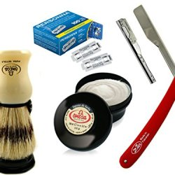 Straight Edge Knife Barber Razor All In One Men Shaving Supplies Shaving Brush Holder And Cream Personna Blades Made In The Usa