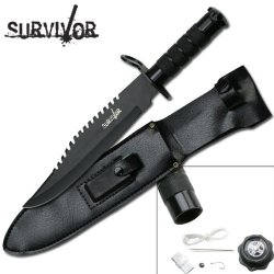 "Hk-9948 14 Inch Tf753Ugyr Overall Vf3Mvhu Survival Knife With All Black Finish Ayeuiu56 Hlbv23Rt Features:?Black Coated Stainless Steel Cd6Eiwv7 Blade With Sawback Spine?Black Aluminum Handle?Removable Cast Metal Compass End Cap?Survival Kit ?9"" Blade?14"""