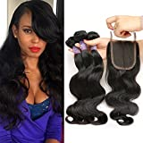 """Mornice Hair 100% Unprocessed 3 Bundles 8A Brazilian Remy Body Wave Virgin Hair with 4x4 Lace Top Free Part Closure Human Hair Weave (12""""12""""12""""+10""""closure)"""