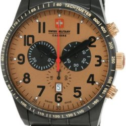 Swiss Military Calibre Men'S 06-5R4-13-002 Red Star Gold Tone Dial Chronograph Steel Date Watch