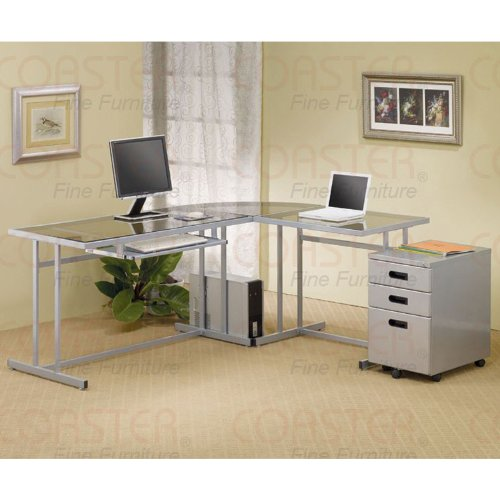 Picture of Comfortable Computer Workstation With Glass Top (B003XRFR6O) (Computer Workstations)