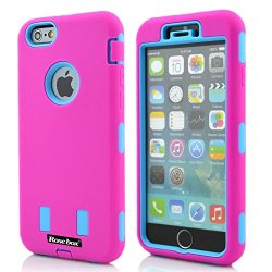 Rosebox® Iphone 6 Case Apple Iphone 6 Case (4.7 Inch) Case Hybrid Case 4.7 Inch 3In1 Combo Hybrid Hard And Silicone Protective Bumper Case For Apple Iphone 6 Plus(4.7 Inch) (Rose Pink &Sky Blue Robot Case)