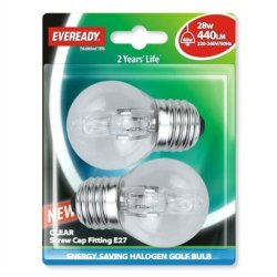 Eveready Lighting G45 Golf Eco Halogen Bulb 28 Watt (40 Watt) Es/E27 Edison Screw Card Of 2 Eves4883