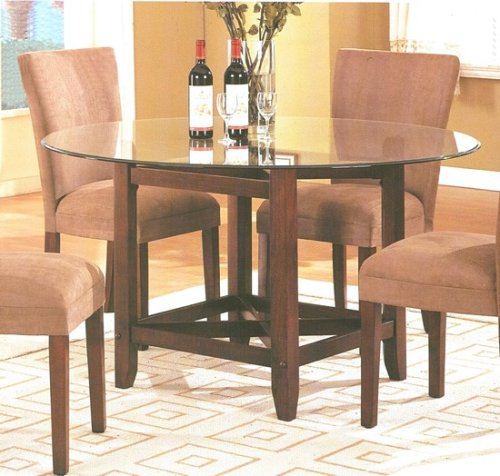 Image of Brown Finish Wood Base Round Glass Top Dining Table (VF_AM9510)