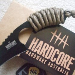Hardcore Hardware Australia Lfk01 Tactical Knife Tan Para-Cord Handle Khaki Sheath