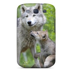 Mine World Nice Gray Wolf Cub Appearance Case For Galaxy S3 Color Green