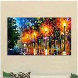 100% Hand-Painted Best-Selling Quality Goods Free Shipping Wood Framed On The Back Knife Painting Walk Under The Street Light High Q. Wall Decor Landscape Oil Painting On Canvas 4Pcs/Set Mixorde