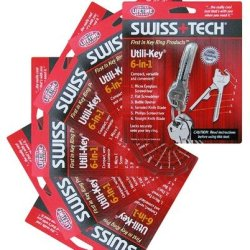 6 Pack Swiss Tech 6 In 1 Stainless Steel Keychain Tool 66676 Ukcsb-1