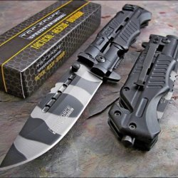 Tac-Force Urban Camo Assisted Opening High Carbon Glass Breaker Rescue Knife New