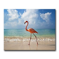 Wall Art Painting Flamingo Walking In Beach Prints On Canvas The Picture Animal Pictures Oil For Home Modern Decoration Print Decor