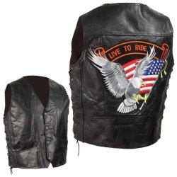 Standout Vests Exclusive Motorcycle Grain Leather Biker Vest-L Incomparable