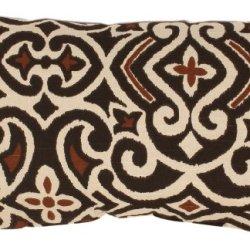 Pillow Perfect Brown/Beige Damask Rectangular Throw Pillow