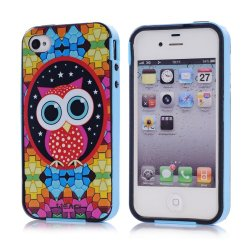 Meaci Apple Iphone 4 4S Case Combo Hybrid Smooth Hard Tpu Material With Pattern (Owl)