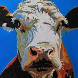 Cow Animal Painting Print On Canvas Wall Art Deco Home Decoration 20X15In Unframed