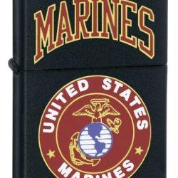 Zippo Marines Pocket Lighter, Matte Black