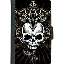 Case Fun Samsung Galaxy S3 (I9300) Faux Leather Wallet Case - Black Skull