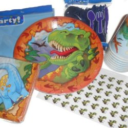 Dinosaur Party Supplies - Plates, Napkins & Cups. Plastic Silverware, Tablecover & 54 Hershey Kiss Lable Favors