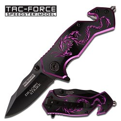 "Tac-Force Assisted Opening Belt Clip Black/Purple Aluminum Handle Dragon Graphics Design A/O 3.5"" Closed Knife"