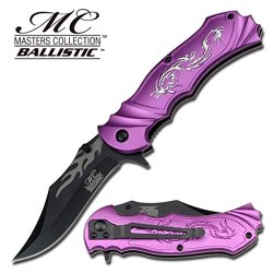 Silver Dragon With Purple Tactical Rescue Quick Open Pocket Design Folding Knife