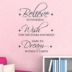 Lsd New Believe In Yourself Wish Dream Quote Motto Diy Art Vinyl Pvc Wall Sticker Mural Decals Home Decor Removable Transfer Hot