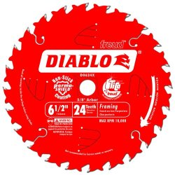 Freud D0624X Diablo 6-1/2-Inch 24-Tooth Atb Framing Saw Blade With 5/8-Inch Arbor