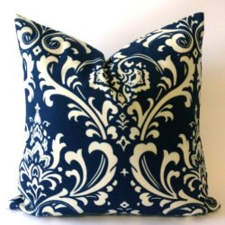 Set Of 2 - Suzani Damask Design Decorative Throw Pillows Covers -Medium Weight Cotton Print- Invisible Zipper Closure (Navy/White, 16X16)