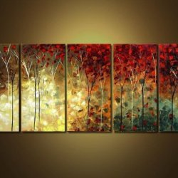 Sangu 100% Hand Painted Wood Framed 5-Piece Hot Sale Modern Colorful Garden Leaves For Abstract Oil Painting Gift Canvas Wall Art For Home Decoration