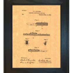 "Combined Pocket Knife And Rule Patent Art Print In A Solid Pine Wood Frame (20"" X 24"")"