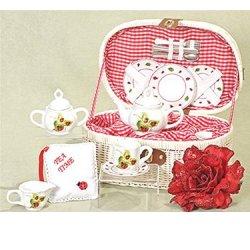 Ladybug 19 Pc. Kids Tea Set For Two In Basket