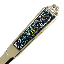 Mother Of Pearl Black Floral Metal Steel Knife Office Sword Blade Hand Envelope Letter Opener With Arabesque Design