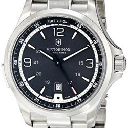 Victorinox Men'S 241569 Night Vision Analog Display Swiss Quartz Silver Watch