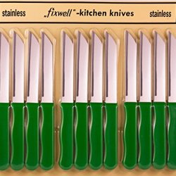 Fixwell 12Pc Stainless Steel Knives Set, Green Handles
