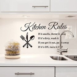 60*40Cm Kitchen Rules Knives Forks Spoons Wall Stickers Removable Waterproof Home Art Decoration Mural Wall Decal Home Decor Kitchen Room Vinyl Diy Art Decals