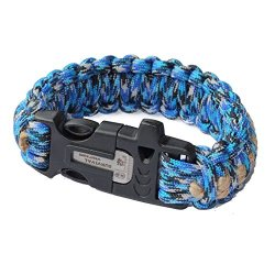 Generic Survival Multi-Function Paracord Bracelet With Flint Fire Starter Whistle Buckle Scraper And Hemp Twine Tinder 9 Inch Ocean Camo