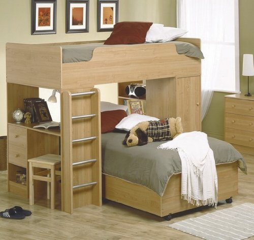 Image of Childs Wood Loft Bunk Bed Kid Bedroom Furniture Set (VF_AZ00-9015x28371)