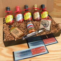 Arthur Bryants Barbecue Sauce Premium Gourmet Box Set [Includes 5 Bottles Of Sauces, Kc Seasoning Rub, Honey Cayenne Hot Sauce, Hot & Spicy Popcorn, Stainless Steel Tongs & 4 Premium Wood-Handled Steak Knives]