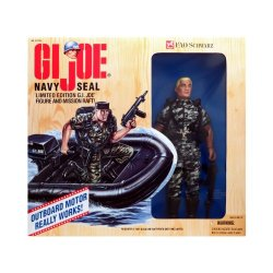 Kenner Year 1995 Limited Edition Fao Schwarz Exclusive Fully Poseable G. I. Joe 12 Inch Tall Soldier Action Figure - Navy Seal With Mission Raft, Raft Motor, Uniform, Hat, Dog Tag, Automatic Weapon With Silencer, Pistol In Holster, Knife In Holster, 2 Han