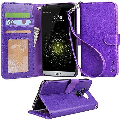 LG-G5-Case-Arae-Wrist-Strap-Flip-Folio-Kickstand-Feature-PU-leather-wallet-case-with-IDCredit-Card-Pockets-For-LG-G5-Purple